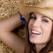 Happy Smiling Cowgirl — Stock Photo
