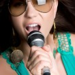 beautiful singer — Stock Photo