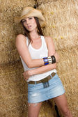 Country Girl in Hay — Stock Photo