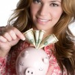 Businesswoman With Piggy Bank  — Stock Photo