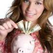 Businesswoman With Piggy Bank  — 图库照片
