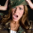 Shocked Military Woman - Stock Photo