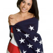 Woman Wrapped in US Flag — Stock Photo