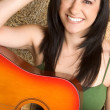 Country Girl with Guitar — Stock Photo