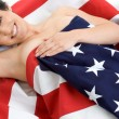 Patriotic Woman - Foto Stock