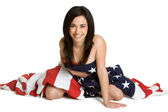 Woman with Flag — Stock Photo