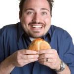 Man Eating Hamburger — Stock Photo