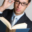 Businessman Reading Book - Stock Photo