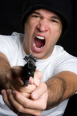 Angry Man Pointing Gun — Stock Photo