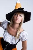 Halloween Witch Costume Girl — Stock Photo