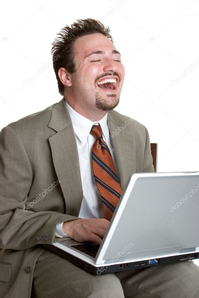 Laughing Laptop Man  — Stock Photo #11754550