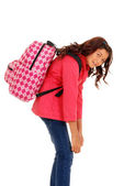 School girl with overweight backpack — Stock Photo