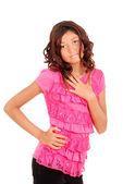 Linda chica joven con la tapa rosa — Foto de Stock