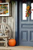 Fall front porch — Stock Photo