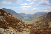 Buttermere and valley from Haystacks horiz — Stock Photo