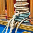 Stock Photo: Mooring bollard with ropes