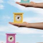 Three Colored Clocks — Stock Photo