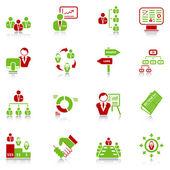 Icônes de gestion - série vert-rouge — Vecteur