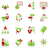 Management icons - green-red series — Stock Vector