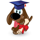 Cartoon dog is a graduate of — Stock Vector