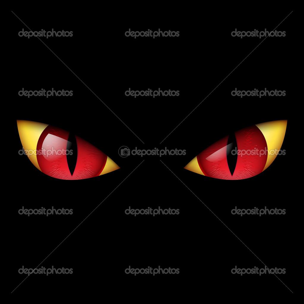 Evil Red Eye. Illustration on black background. — Stock Vector #10741587
