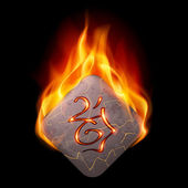 Burning rune stone — Stock Vector