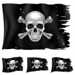 Three types of pirate flag — Stock Vector