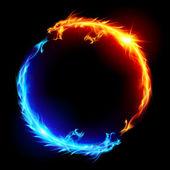 Mavi ve kırmızı ejderha ateşi — Stok Vektör