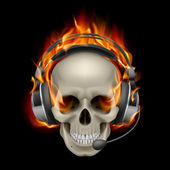 Flaming Skull with headphones — Stock Vector