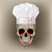 Bloody skull cap chef. — Stock Vector