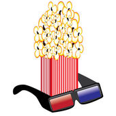 Popcorn and 3D Glasses — Stock Vector