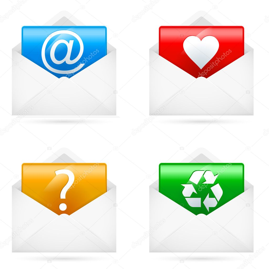 Set of E-mail icons. Illustration on white background — Stock Vector #11593576