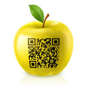 Yellow apple and QR Code — Stock Vector