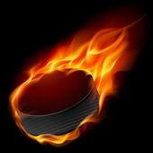 Burning hockey puck — Stock Vector