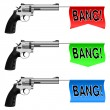 Guns with Bang Flags — Stock Vector