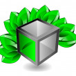 3d cube with leaves - Stock Photo