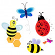 Vector characters. bugs, bee and butterfly - Stock Vector
