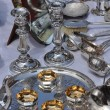 Stock Photo: Silver vessels in flemarket