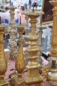 Old candlesticks the flea market — Stock Photo
