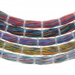 Bundles of network cables with cable ties — Stock Photo