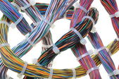 Bundles of network cables with cable ties — Photo