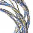 Colorful bunches of cables, a global network - Stockfoto