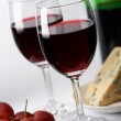 Cheese, grape and red wine — Stock Photo