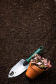 Spade and flower in pot — Stock Photo