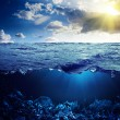 Stock Photo: Waterline and underwater background
