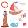 Sea icons funny set — Stock Vector
