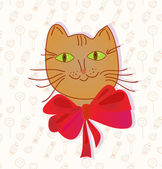 Greeting card with funny cat — Stock Vector