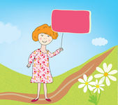 Child girl with banner for text — Stock Vector