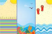 海の漫画をバナーします。 — ストックベクタ