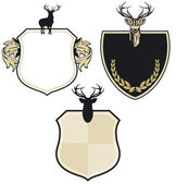 Coat of arms with three deer — Stock Vector
